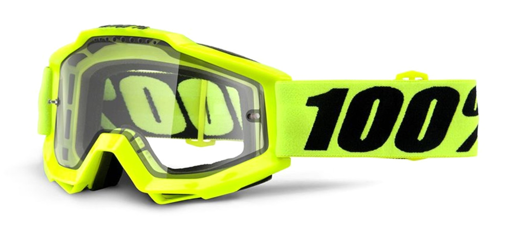 100 Percent Accuri Enduro Mtb Goggles Fluo Yellow/clear Vent Dual Lens
