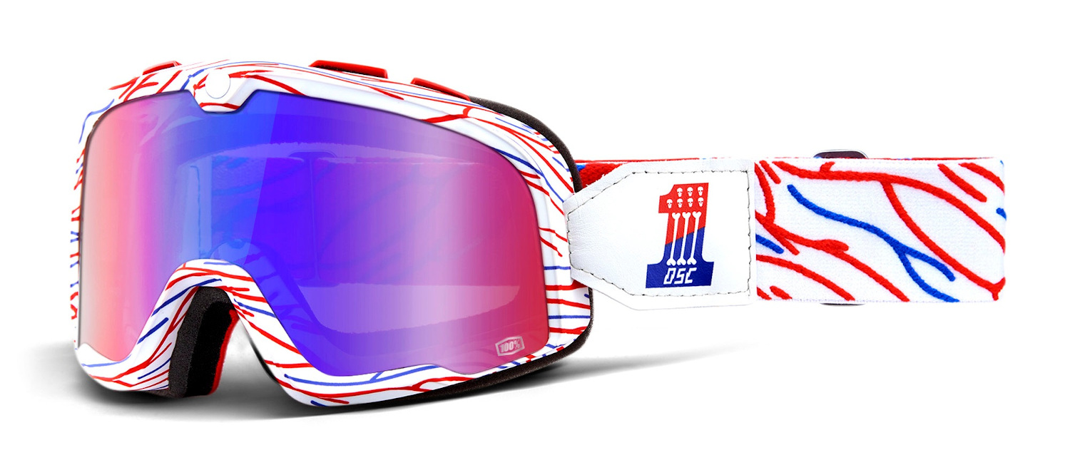 100 Percent Barstow Goggles Death Spray Customs/red/blue Mirrored Lens