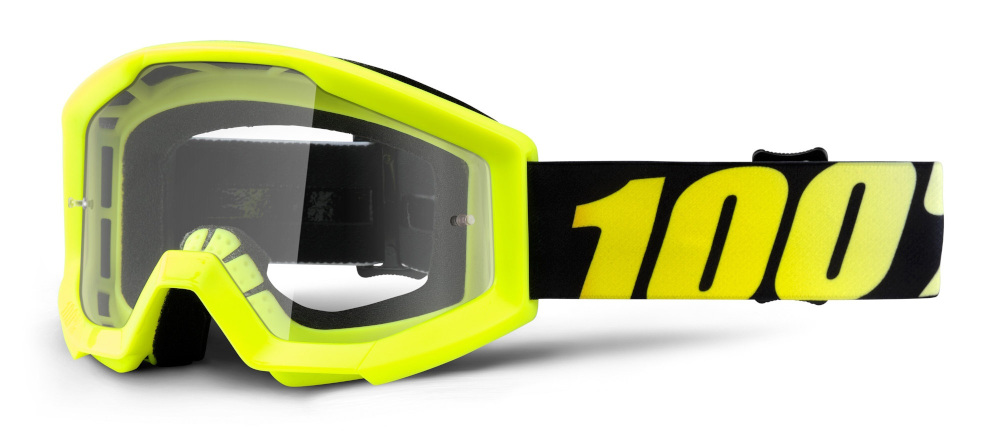 100 Percent Strata Youth Goggles Neon Yellow/clear Lens