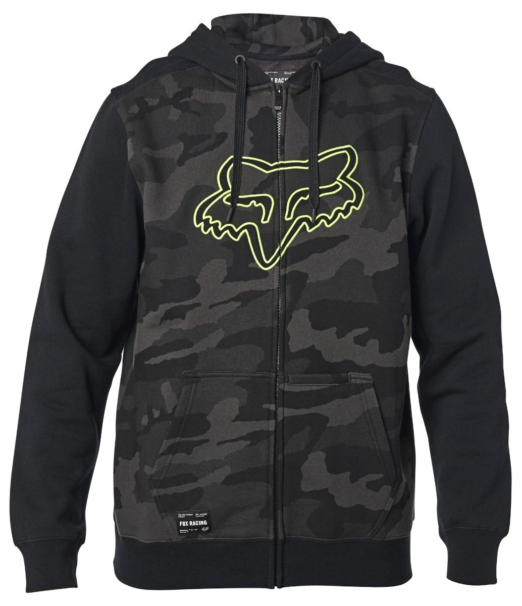 Fox Destrakt Camo Zip Fleece Hoodie Black Camo