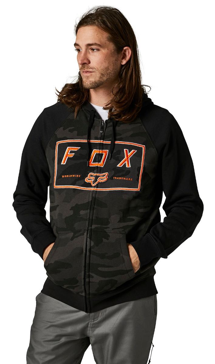 Fox Badger Zip Fleece Hoodie Black Camo