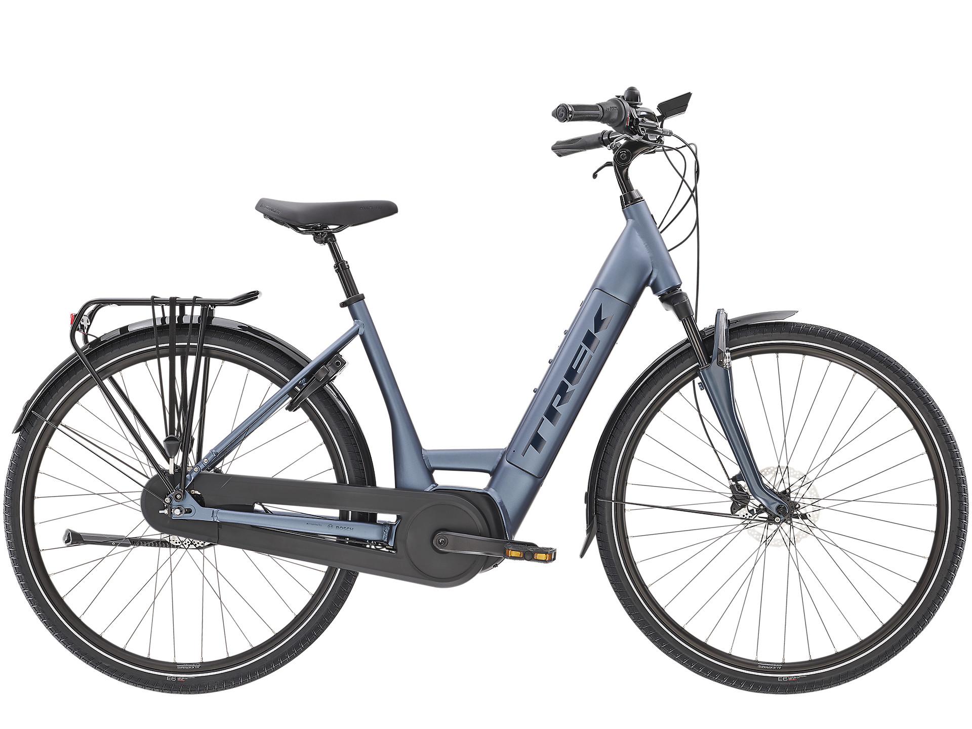 Trek District+ 8 Low Step Electric Hybrid Bike 2021 Matte Pacific
