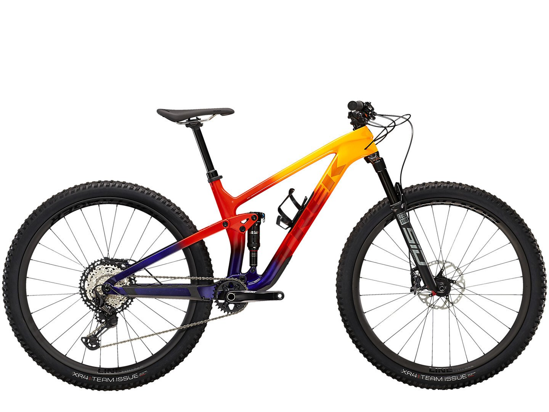 Image of Trek Top Fuel 9.8 Xt Mountain Bike 2022 Marigold/Red/Purple Abyss