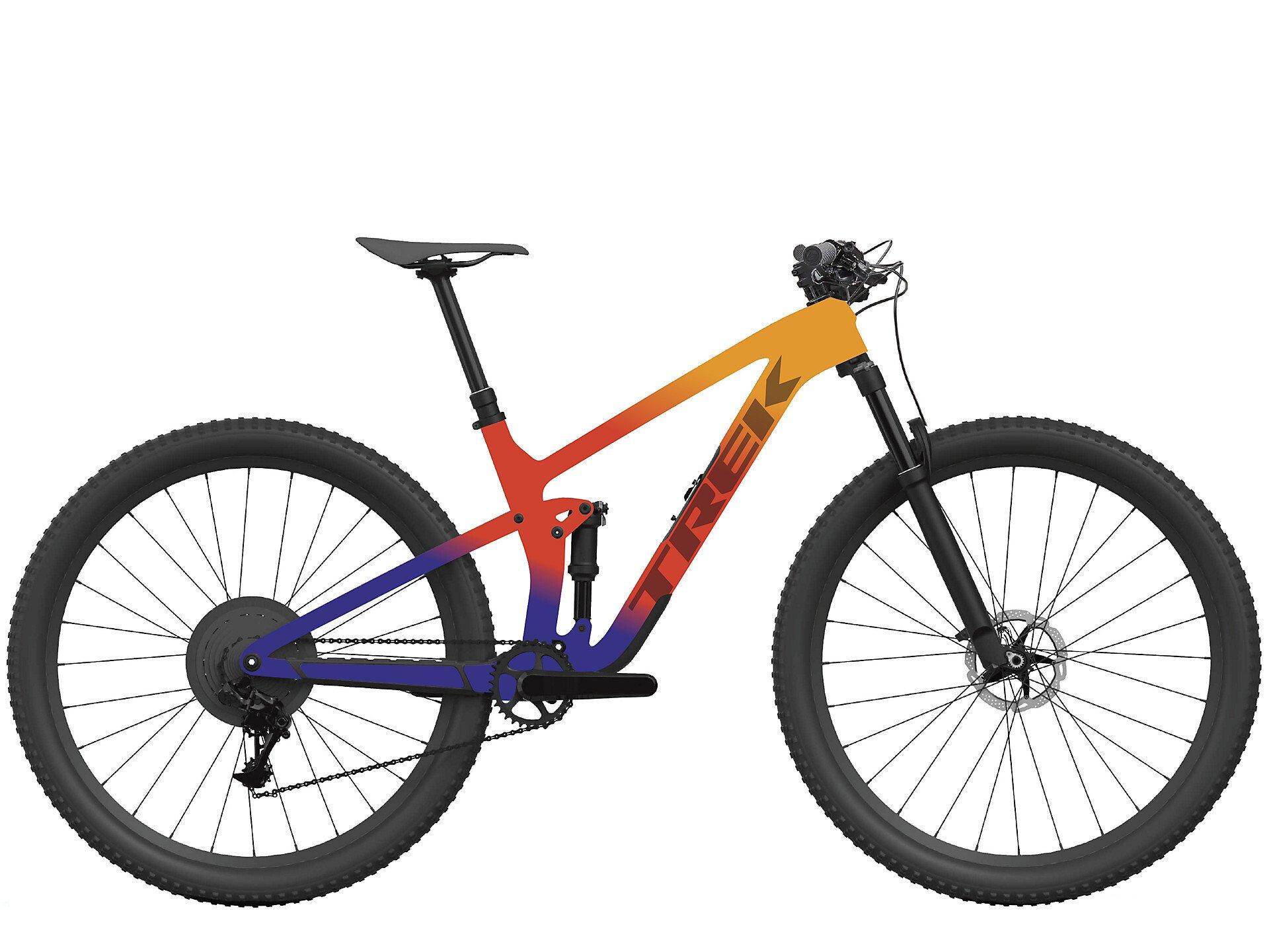 Image of Trek Top Fuel 9.9 XTR Mountain Bike 2022 Marigold/Red/Purple Abyss