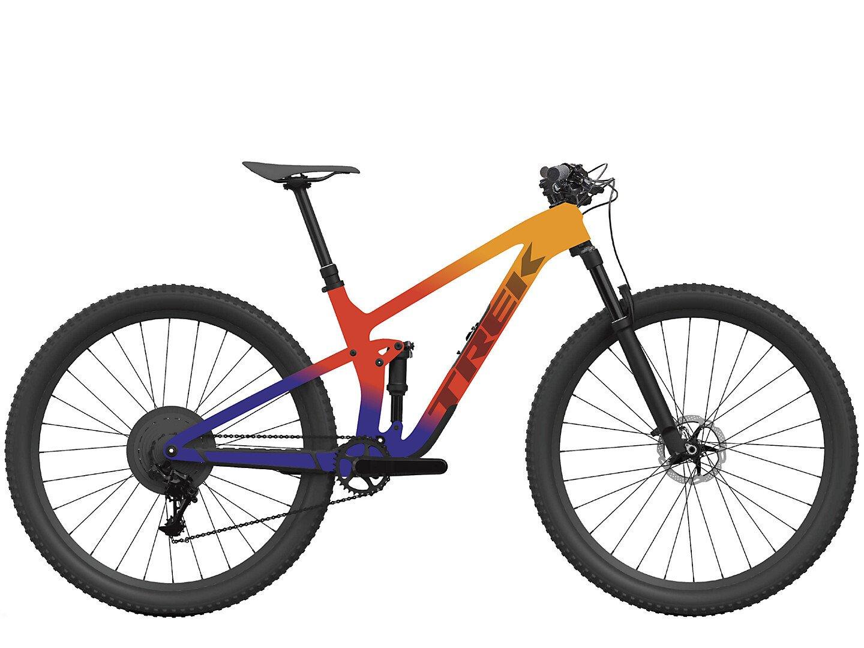 Image of Trek Top Fuel 9.9 XX1 AXS Mountain Bike 2022 Marigold To Red To Purple