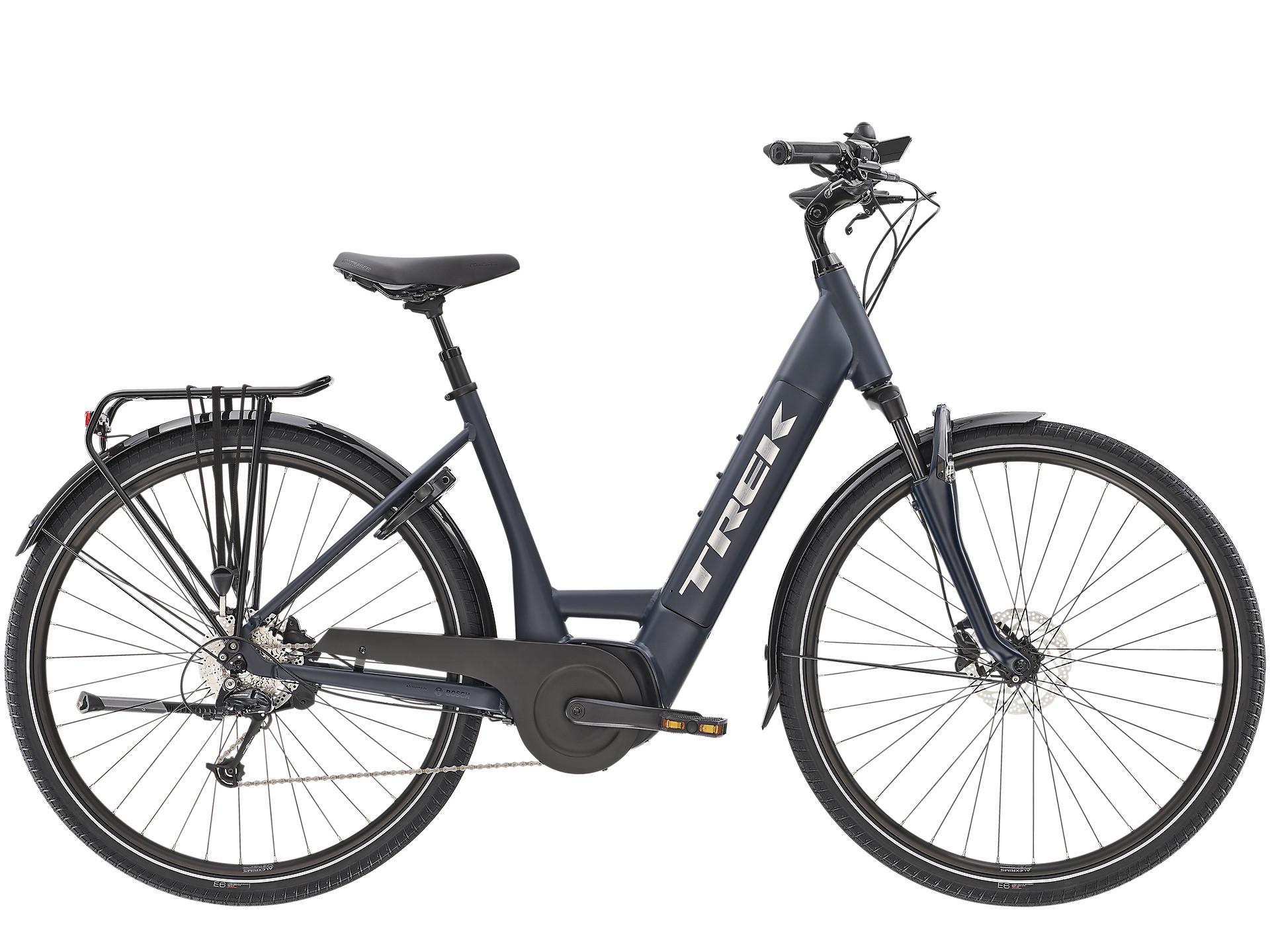 Trek Verve+ 4 Low Step Electric Hybrid Bike 2021 Matte Nautical Navy