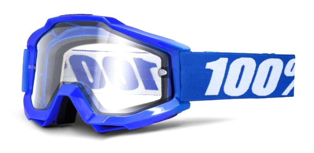 100 Percent Accuri Enduro Moto Goggles Reflex Blue/clear Dual Lens