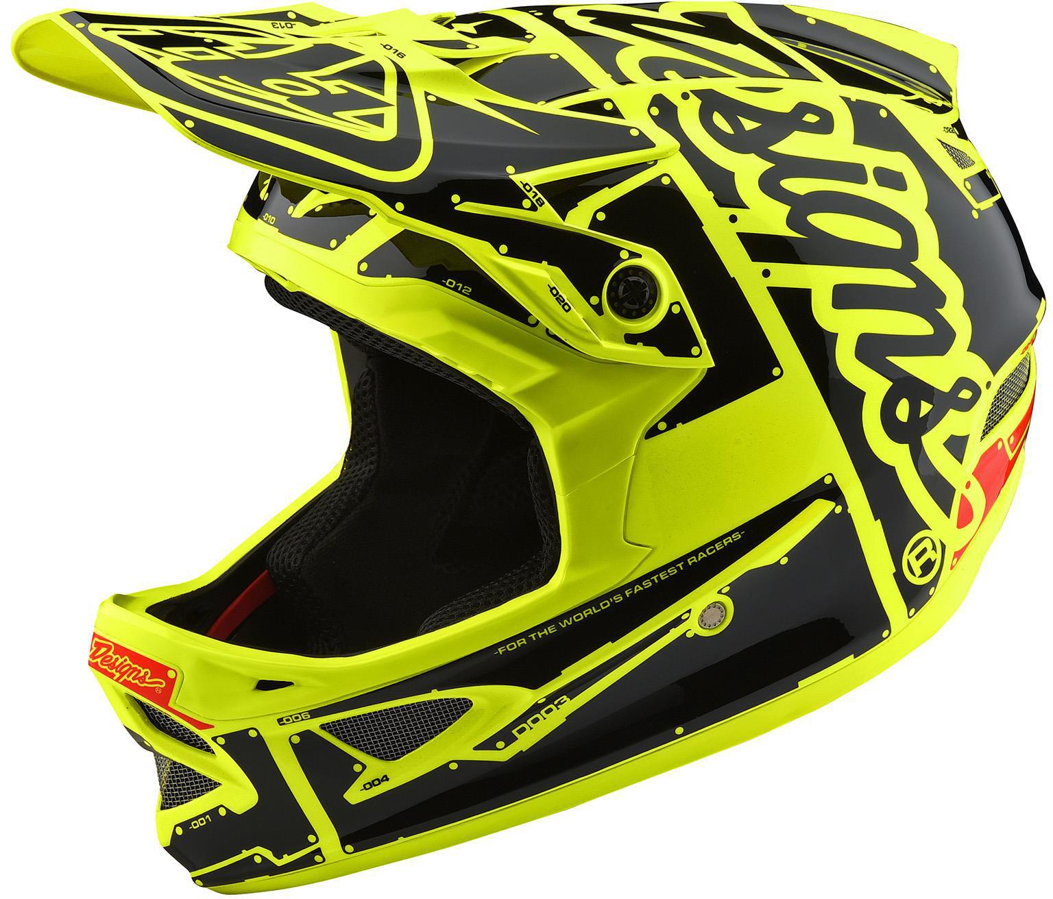 Troy Lee Designs D3 Fiberlite Full Face Helmet Factory Yellow